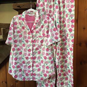 Delicates short sleeve rose print pajama set